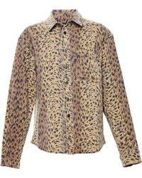 Jeremy Scott Denim Shirt With Leopard Print - Lyst