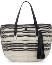 Tory Burch | Two-tone Woven Leather Tote | Lyst