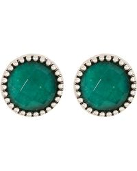 Lucky Brand - Silvertone Jade Stud Earrings - Lyst