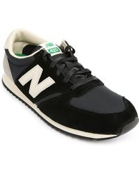 New Balance 420 Black Suede And Mesh Sneakers - Lyst