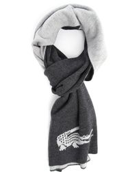 Lacoste Grey Reversible Scarf - Lyst