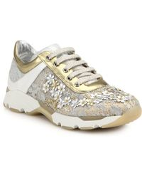 Rene Caovilla Flower-Embellished Lace & Metallic Leather Sneakers - Lyst