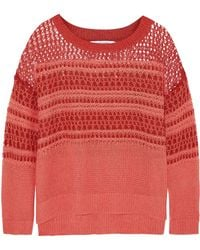 Elizabeth And James Open-knit Linen and Cotton-blend Sweater - Lyst