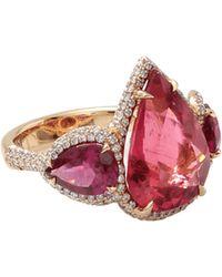 Inbar Pear Shape Rubelite And Diamond Ring red - Lyst