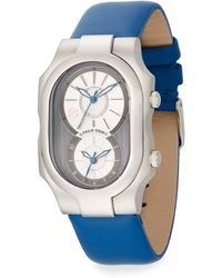 Philip Stein Signature Stainless Steel  Leather Strap Dual Time Zone Watch - Lyst