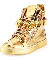 Giuseppe Zanotti Mens Metallic Chain  Zipper High-top Sneaker - Lyst