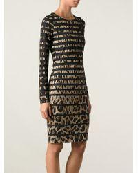 Roberto Cavalli Fitted Leopard Print Dress - Lyst