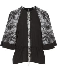 Elie Saab Lace-paneled Silk Top - Lyst
