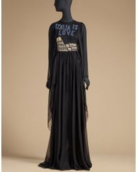 Dolce & Gabbana | Long Chiffon Dress With Colosseum | Lyst