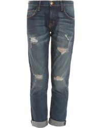 Current/Elliott The Fling Destroyed Jeans - Lyst