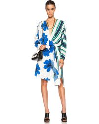 Chloé Hand Drawn Stripes On Silk Crepe De Chine Wrap Dress - Lyst