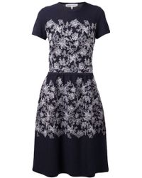 Carolina Herrera Floral Embroidered Dress - Lyst