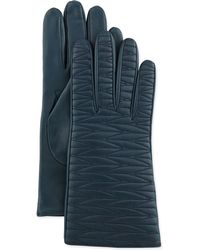 Portolano Topstitched Leather Gloves blue - Lyst