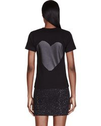 Play Comme des Garçons Black Front And Back Heart Print T_Shirt - Lyst