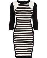 Karen Millen Stripe Knitted Dress - Lyst