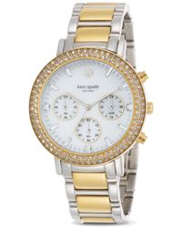 Kate Spade Two Tone Pave Gramercy Grand Watch 38mm - Lyst