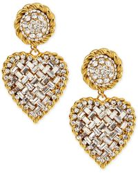 Jose & Maria Barrera Crystal Heart Drop Clipon Earrings - Lyst