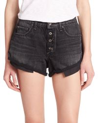 Rag & Bone/JEAN The Marilyn Roll-Up Denim Shorts black - Lyst