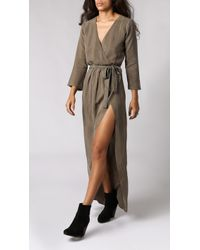 Again Bianca Wrap Front Dress gray - Lyst