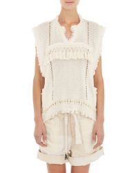 Isabel Marant Mixed-Stitch Fringed Tacey Sweater white - Lyst