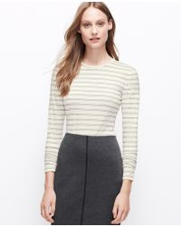 Ann Taylor Striped Jewel Neck Long Sleeve Tee - Lyst