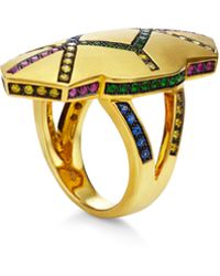 Genevieve Jones Hume Pave Rainbow Shield Ring - Metallic