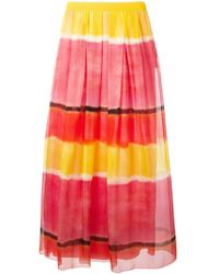 Alberta Ferretti Colour Block Long Skirt - Lyst