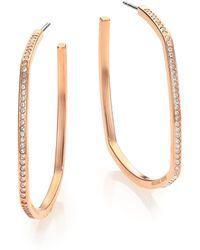 Michael Kors Cityscape Chains Pavé Rose Goldtone Geometric Hoop Earrings/1.5 pink - Lyst