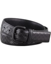 Bottega Veneta Scolpito Scored Leather Belt - Lyst