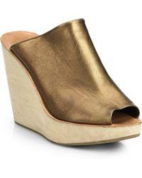 Rachel Comey Metallic Leather Wedge Sandals - Lyst