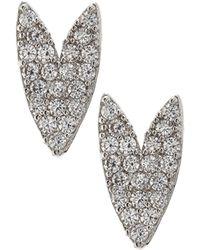 Tai - Silvertone Crystal Heart Stud Earrings - Lyst