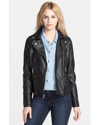 Guess Shrunken Faux Leather Moto Jacket - Lyst