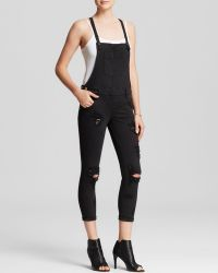 Guess - Overalls - Carlie Slim In Overdye Black With Destroy - Lyst