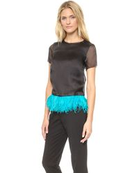 Marchesa Voyage Feather Bordered Tee  Blackcaribbean Blue Feather - Lyst