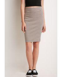 Forever 21 Stripe Pencil Skirt - Lyst