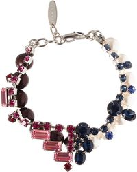 Joomi Lim - Burgundy Crystal And Pearl Split Personality Bracelet - Lyst