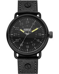 Barbour - 'international' Leather Strap Watch - Lyst