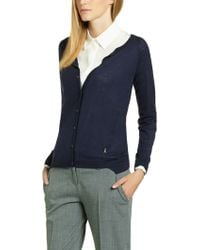 Patrizia Pepe Long Sleeved Cardigan in Cashmere - Lyst