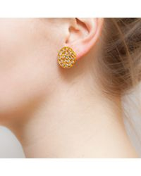 Kastur Jewels - Crystal Slice Round Stud Earrings - Lyst