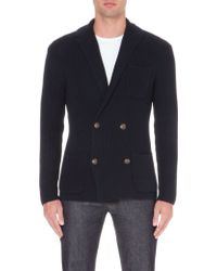 Ralph Lauren Double-breasted Knitted Blazer - Lyst