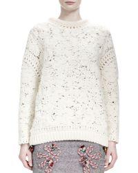 Stella McCartney Longsleeve Crochetembroidered Sweater - Lyst