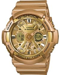 G-shock Mens Analog-digital Gold-tone Resin Strap Watch 55x53mm Ga200gd-9a - Lyst