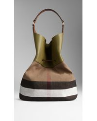 Burberry Large Canvas Check Hobo Bag - Lyst