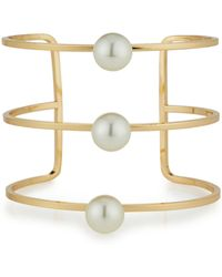 Lydell NYC - Golden Wire Cuff Bracelet W/ Pearly Accents - Lyst