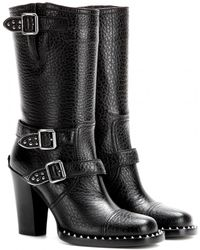 Miu Miu Studded Leather Boots - Lyst