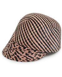 Maison Scotch - Stripe Straw Baseball Cap - Lyst