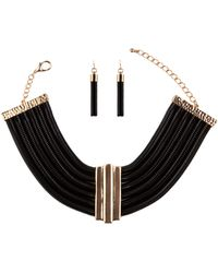 Akira Chain Necklace and Dangle Earring Set in Gold Black - Lyst