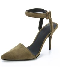 Alexander Wang Lovisa Suede Court Shoes - Camouflage - Green