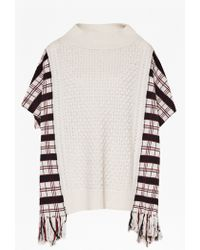 French Connection | Hatty Tartan Wool Poncho | Lyst