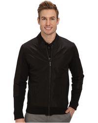 Calvin Klein Full Zip Solid Ponte with Woven Trim Detail Sweatshirt - Lyst